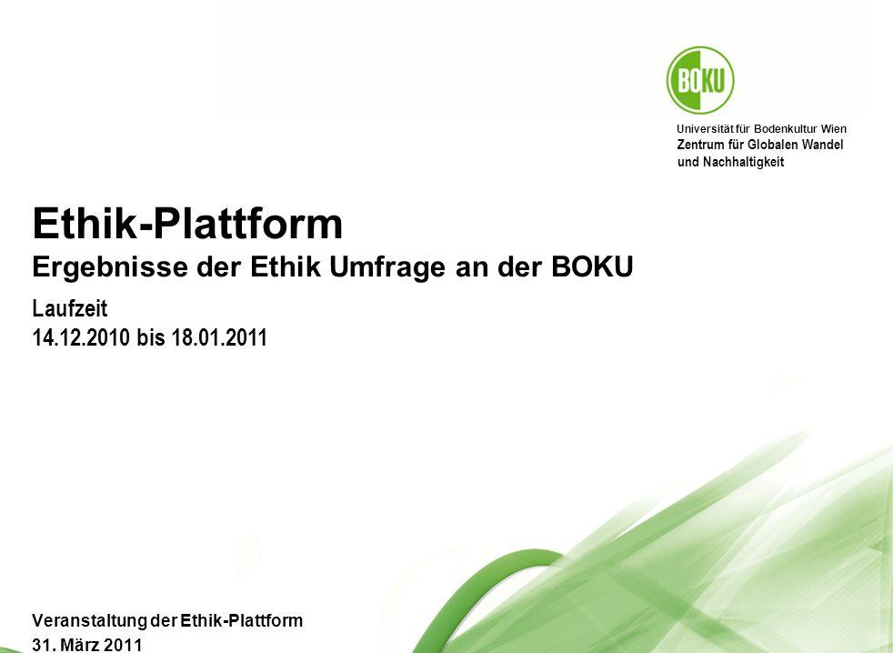 Universität für Bodenkultur Wien BOKU Präsentation 17.05.2014 42 Für wie wichtig halten Sie die Diskussion ethischer Fragen in den folgend angeführten Bereichen.