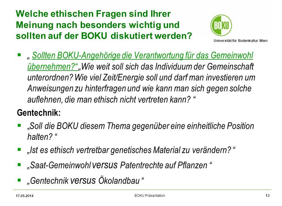 Universität für Bodenkultur Wien BOKU Präsentation Sollten BOKU-Angehörige die Verantwortung für das Gemeinwohl übernehmen.