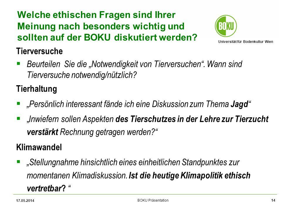 Universität für Bodenkultur Wien BOKU Präsentation Tierversuche Beurteilen Sie die Notwendigkeit von Tierversuchen.