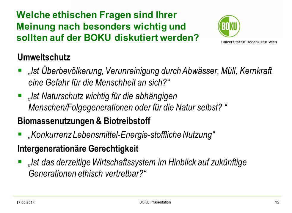 Universität für Bodenkultur Wien BOKU Präsentation Umweltschutz Ist Überbevölkerung, Verunreinigung durch Abwässer, Müll, Kernkraft eine Gefahr für die Menschheit an sich.