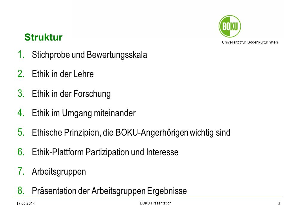 Universität für Bodenkultur Wien BOKU Präsentation Wer hat die Befragung beantwortet.