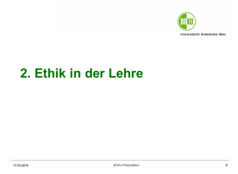 Universität für Bodenkultur Wien BOKU Präsentation17 Wichtigkeitsgrad 17.05.2014 Für wie wichtig halten Sie die Diskussion ethischer Fragen in den folgend angeführten Bereichen.