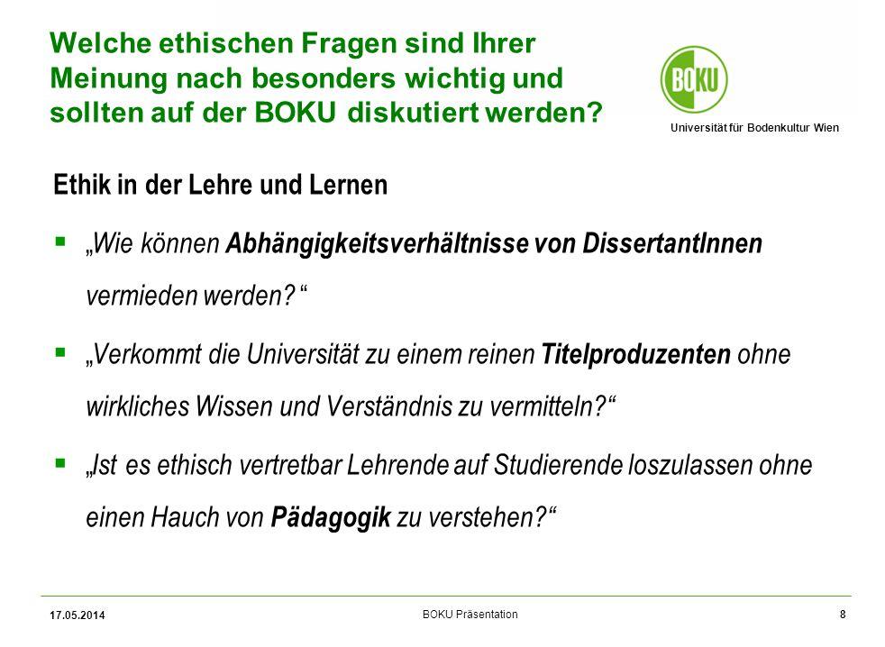 Universität für Bodenkultur Wien BOKU Präsentation 17.05.2014 19 Zustimmungsgrad Wie beurteilen Sie die folgenden Verhaltensweisen.