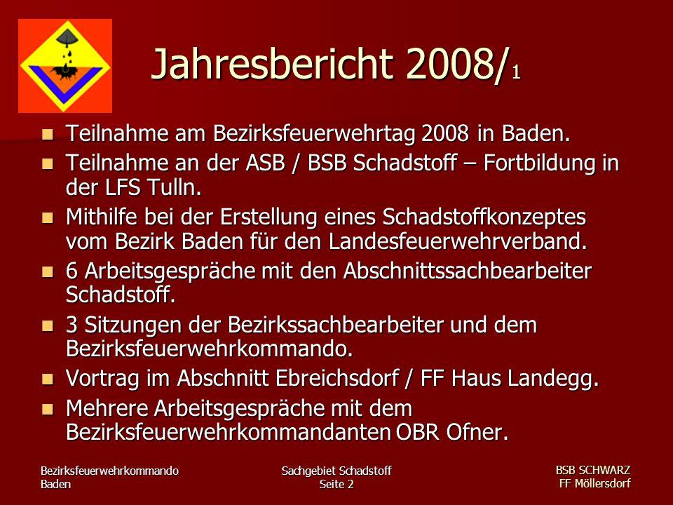 Bezirksfeuerwehrkommando Baden Sachgebiet Schadstoff Seite 2 BSB SCHWARZ FF Möllersdorf Jahresbericht 2008/ 1 Teilnahme am Bezirksfeuerwehrtag 2008 in