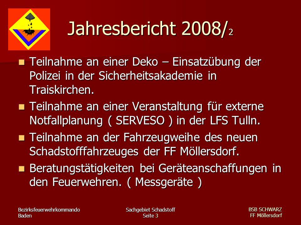 Bezirksfeuerwehrkommando Baden Sachgebiet Schadstoff Seite 3 BSB SCHWARZ FF Möllersdorf Jahresbericht 2008/ 2 Teilnahme an einer Deko – Einsatzübung der Polizei in der Sicherheitsakademie in Traiskirchen.