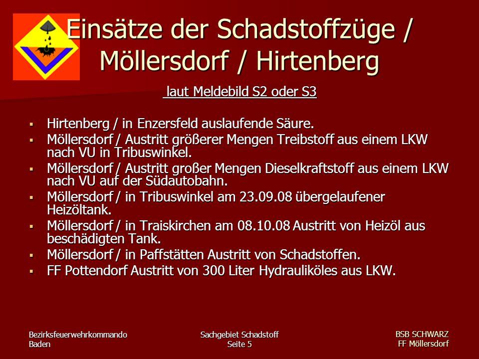 Bezirksfeuerwehrkommando Baden Sachgebiet Schadstoff Seite 5 BSB SCHWARZ FF Möllersdorf Einsätze der Schadstoffzüge / Möllersdorf / Hirtenberg laut Me