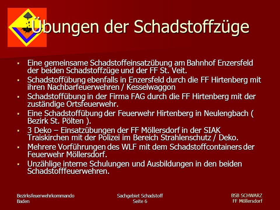 Bezirksfeuerwehrkommando Baden Sachgebiet Schadstoff Seite 6 BSB SCHWARZ FF Möllersdorf Übungen der Schadstoffzüge Eine gemeinsame Schadstoffeinsatzüb