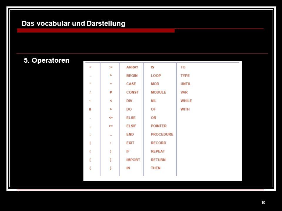 10 Das vocabular und Darstellung 5. Operatoren
