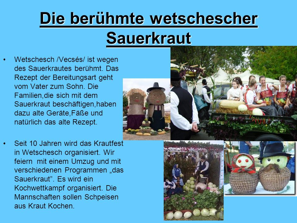 Die berühmte wetschescher Sauerkraut Wetschesch /Vecsés/ ist wegen des Sauerkrautes berühmt.