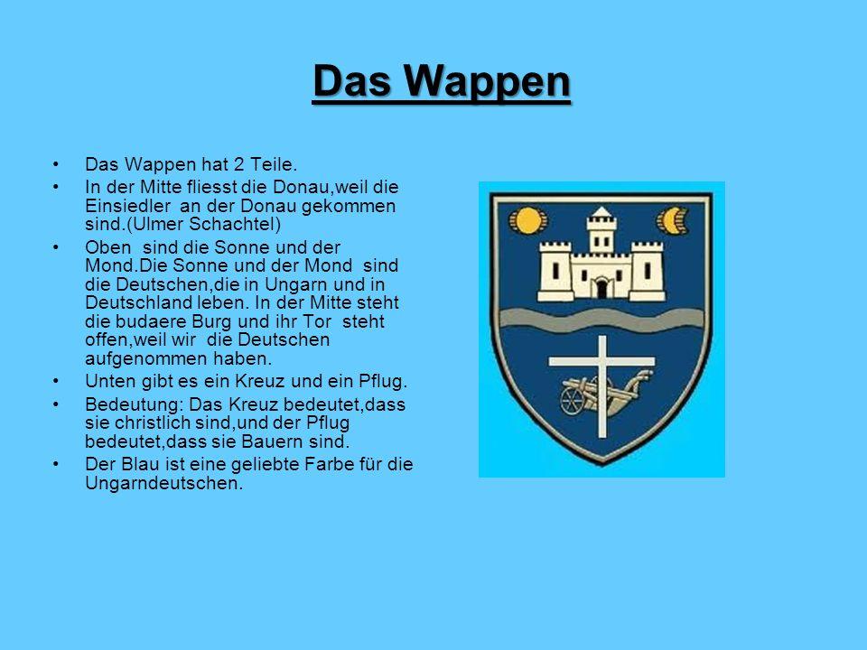 Das Wappen hat 2 Teile. In der Mitte fliesst die Donau,weil die Einsiedler an der Donau gekommen sind.(Ulmer Schachtel) Oben sind die Sonne und der Mo