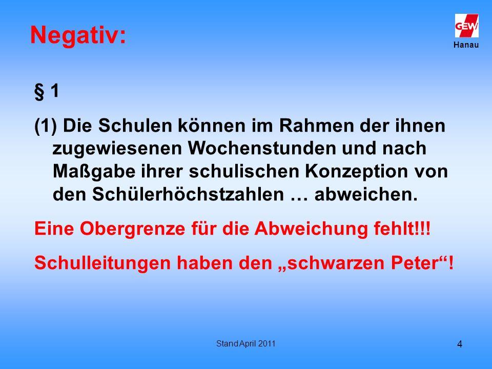 Hanau Stand April 2011 4 Negativ: § 1 (1) Die Schulen können im Rahmen der ihnen zugewiesenen Wochenstunden und nach Maßgabe ihrer schulischen Konzept