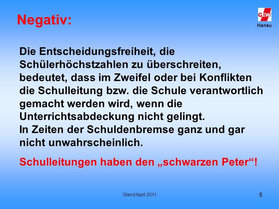 Hanau Stand April 2011 5 Negativ: Die Entscheidungsfreiheit, die Schülerhöchstzahlen zu überschreiten, bedeutet, dass im Zweifel oder bei Konflikten d