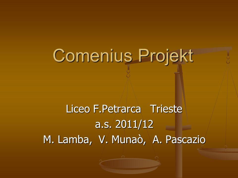 Comenius Projekt Liceo F.Petrarca Trieste a.s. 2011/12 M. Lamba, V. Munaò, A. Pascazio