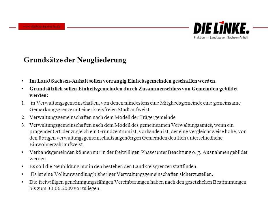 Grundsätze der Neugliederung Im Land Sachsen-Anhalt sollen vorrangig Einheitsgemeinden geschaffen werden. Grundsätzlich sollen Einheitsgemeinden durch