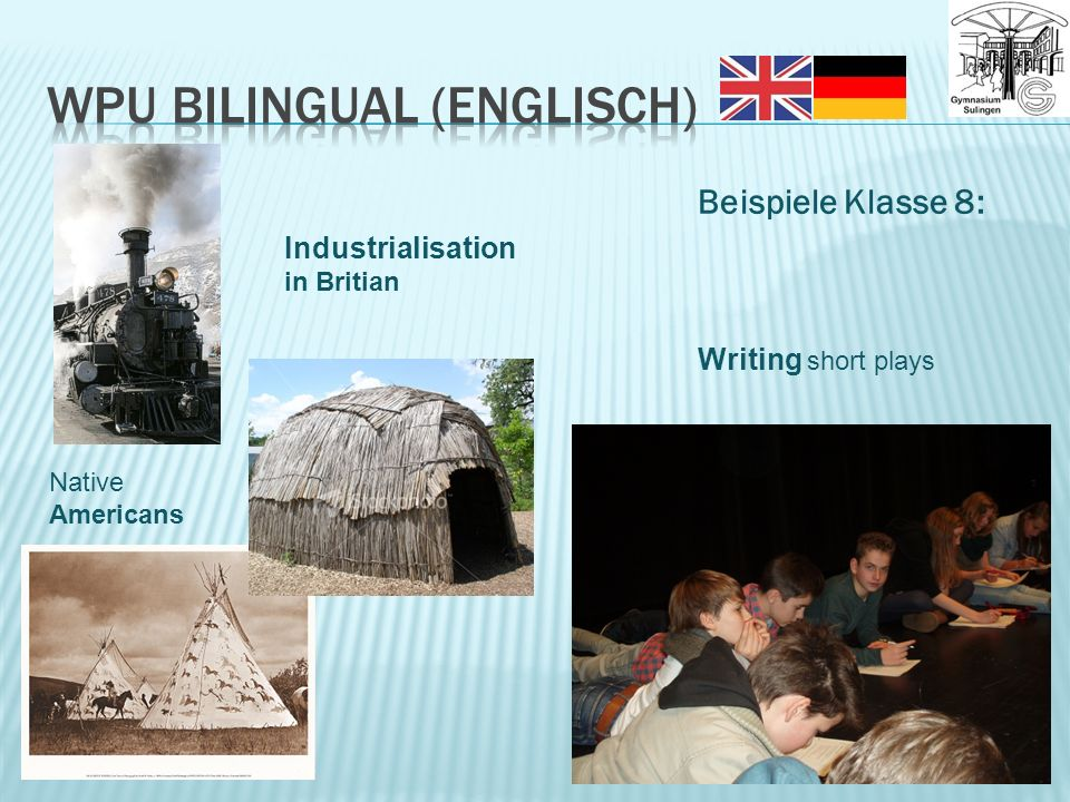 Beispiele Klasse 8: Writing short plays Native Americans Industrialisation in Britian