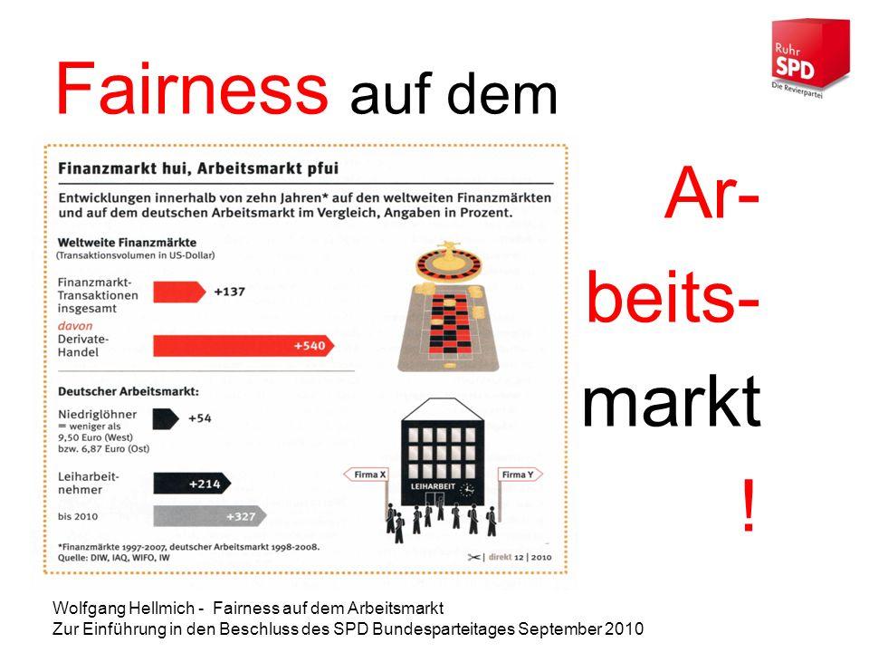 Wolfgang Hellmich - Fairness auf dem Arbeitsmarkt Zur Einführung in den Beschluss des SPD Bundesparteitages September 2010 Fairness auf dem Ar- beits- markt !