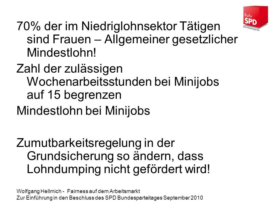 Wolfgang Hellmich - Fairness auf dem Arbeitsmarkt Zur Einführung in den Beschluss des SPD Bundesparteitages September 2010 70% der im Niedriglohnsektor Tätigen sind Frauen – Allgemeiner gesetzlicher Mindestlohn.