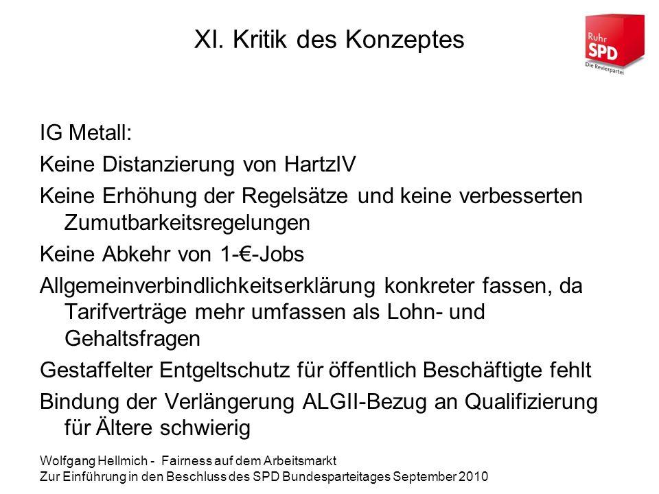 Wolfgang Hellmich - Fairness auf dem Arbeitsmarkt Zur Einführung in den Beschluss des SPD Bundesparteitages September 2010 XI.
