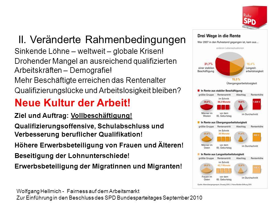 Wolfgang Hellmich - Fairness auf dem Arbeitsmarkt Zur Einführung in den Beschluss des SPD Bundesparteitages September 2010 III.