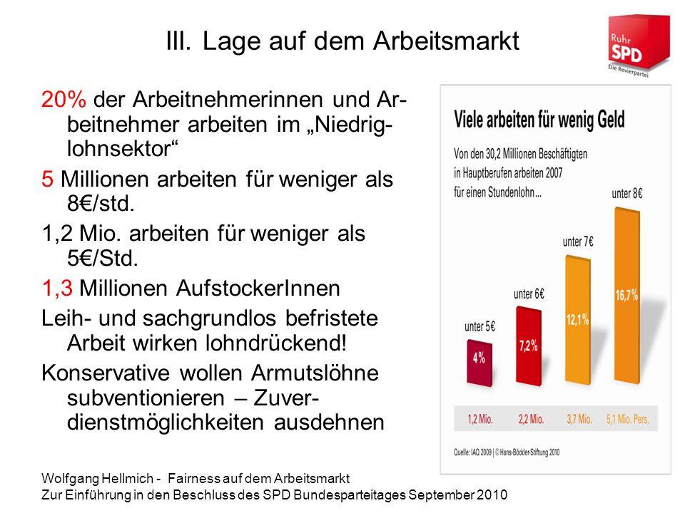 Wolfgang Hellmich - Fairness auf dem Arbeitsmarkt Zur Einführung in den Beschluss des SPD Bundesparteitages September 2010 Die Daten im August 2010: AL-Quote 7,6% AL-Zahl gesamt 3.188.122 Quote West 6,6% Quote Ost 11,5% Erwerbstätige (incl.