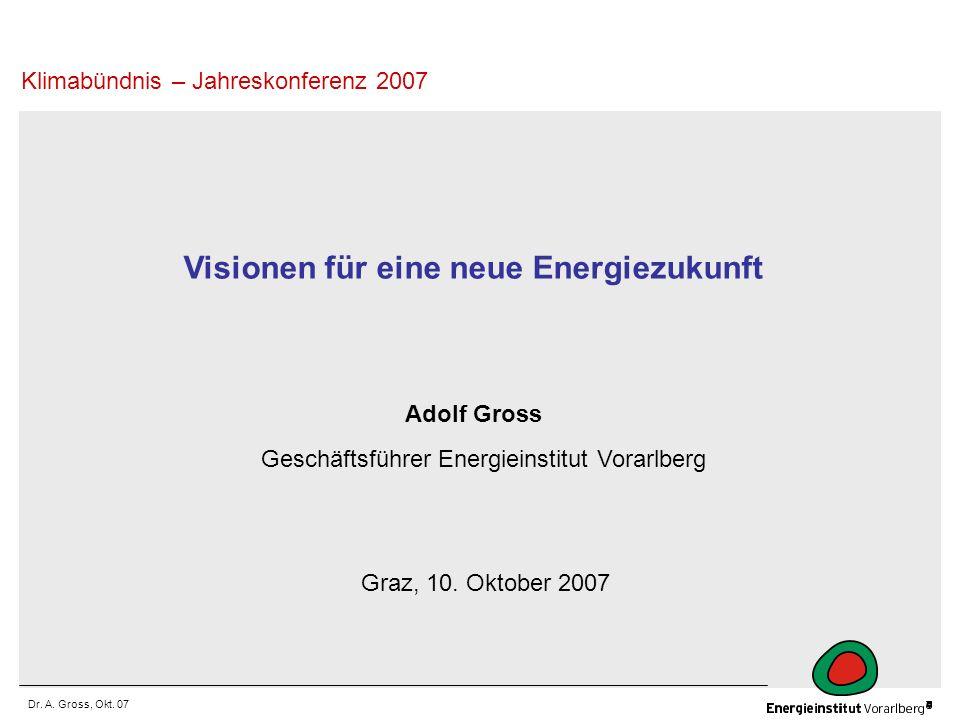 Dr. A. Gross, Okt. 07 Visionen für eine neue Energiezukunft Adolf Gross Geschäftsführer Energieinstitut Vorarlberg Klimabündnis – Jahreskonferenz 2007