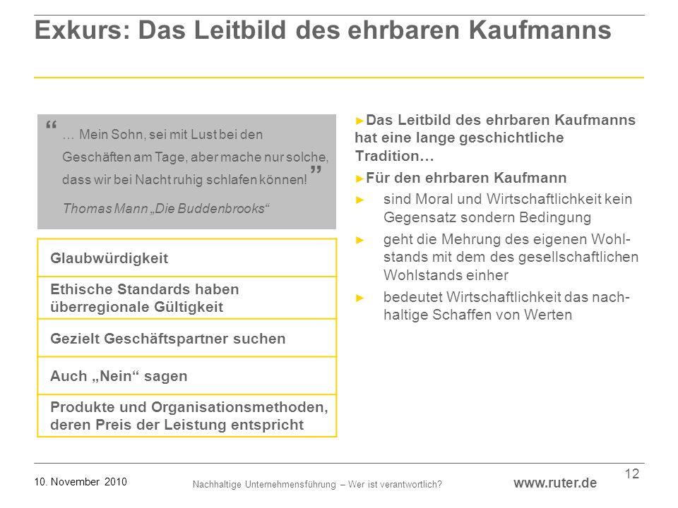 Nachhaltige Unternehmensführung – Wer ist verantwortlich? www.ruter.de 10. November 2010 12 Exkurs: Das Leitbild des ehrbaren Kaufmanns Das Leitbild d
