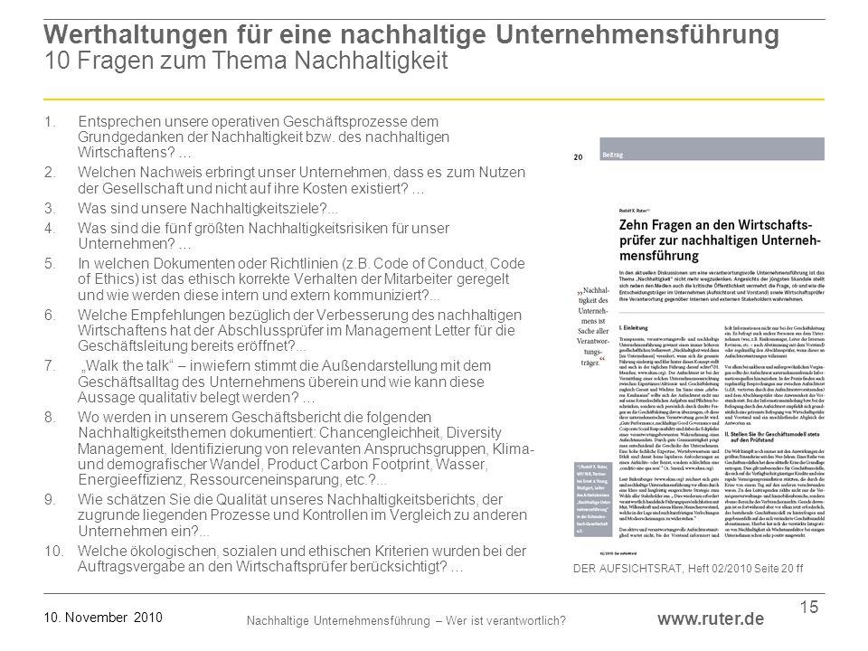 Nachhaltige Unternehmensführung – Wer ist verantwortlich? www.ruter.de 10. November 2010 15 Werthaltungen für eine nachhaltige Unternehmensführung 10