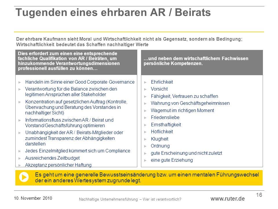 Nachhaltige Unternehmensführung – Wer ist verantwortlich? www.ruter.de 10. November 2010 16 Handeln im Sinne einer Good Corporate Governance Verantwor