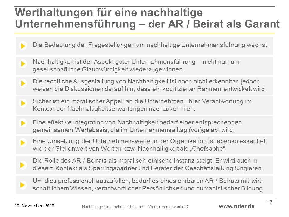 Nachhaltige Unternehmensführung – Wer ist verantwortlich? www.ruter.de 10. November 2010 17 Die Rolle des AR / Beirats als moralisch-ethische Instanz