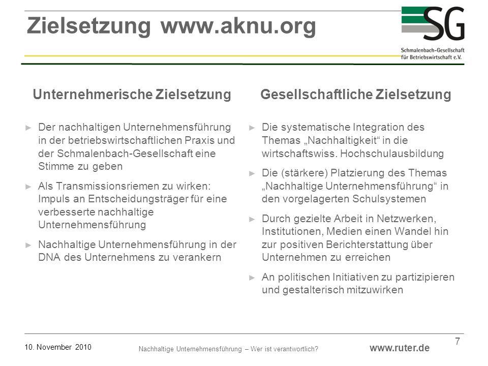 Nachhaltige Unternehmensführung – Wer ist verantwortlich? www.ruter.de 10. November 2010 7 Unternehmerische Zielsetzung Der nachhaltigen Unternehmensf