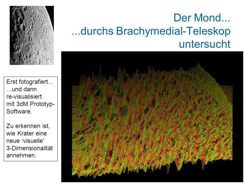 Der Mond......durchs Brachymedial-Teleskop untersucht Erst fotografiert......und dann re-visualisiert mit 3dM Prototyp- Software. Zu erkennen ist, wie
