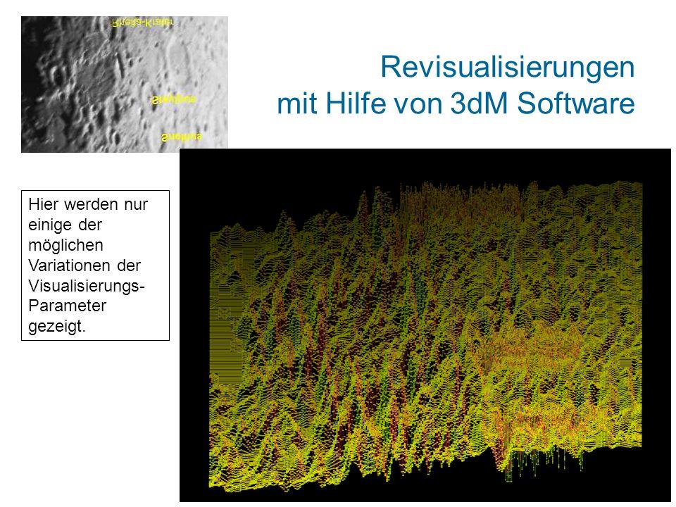 Revisualisierungen mit Hilfe von 3dM Software Hier werden nur einige der möglichen Variationen der Visualisierungs- Parameter gezeigt.