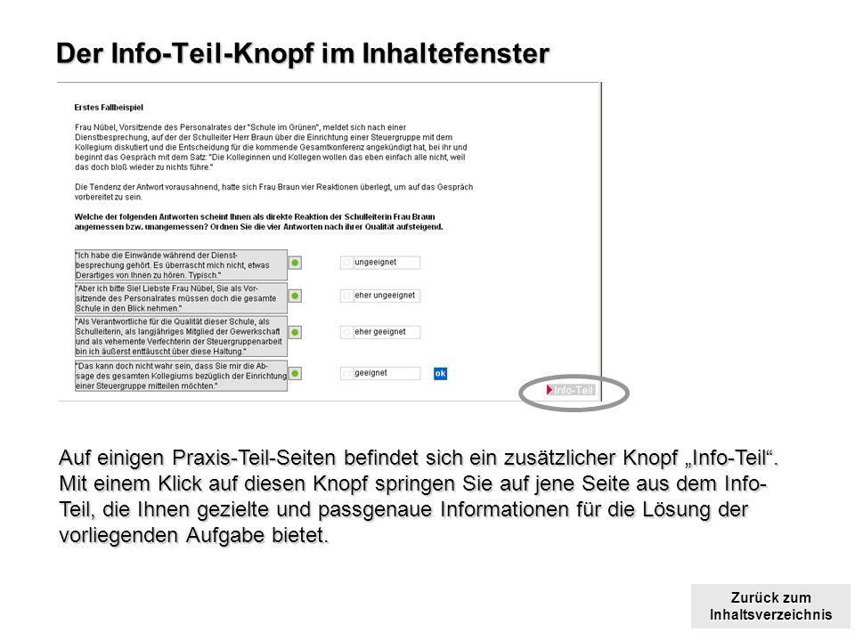 Zurück zum Inhaltsverzeichnis Zurück zum Inhaltsverzeichnis Der Info-Teil-Knopf im Inhaltefenster Auf einigen Praxis-Teil-Seiten befindet sich ein zusätzlicher Knopf Info-Teil.
