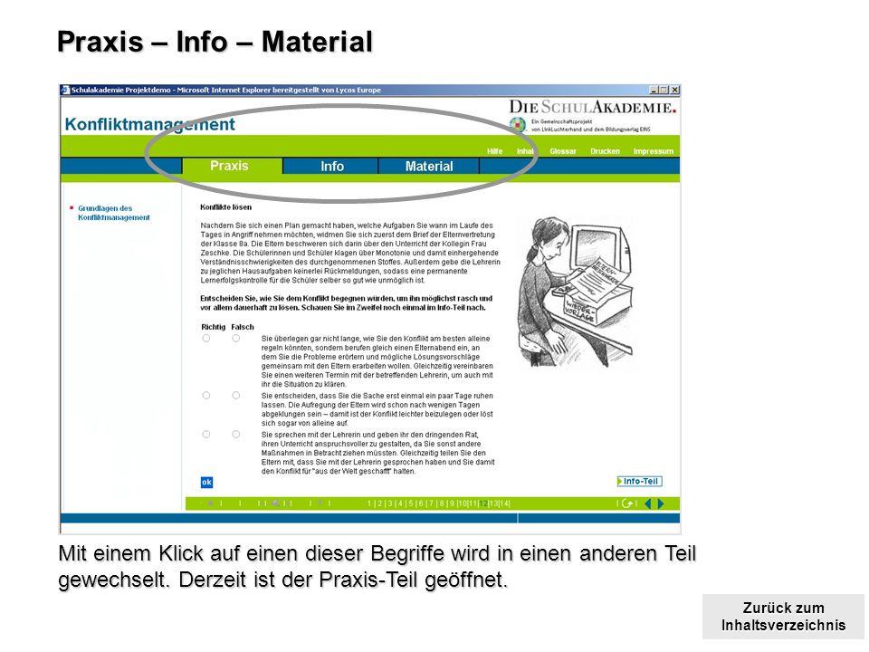 Zurück zum Inhaltsverzeichnis Zurück zum Inhaltsverzeichnis Praxis – Info – Material Mit einem Klick auf einen dieser Begriffe wird in einen anderen Teil gewechselt.