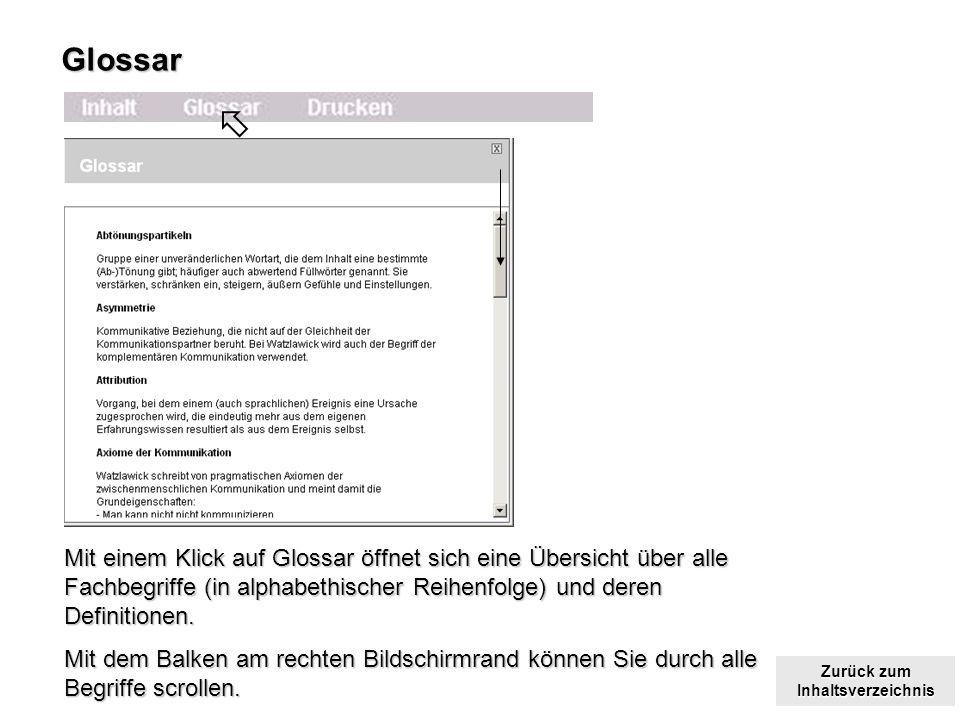 Zurück zum Inhaltsverzeichnis Zurück zum InhaltsverzeichnisGlossar Mit einem Klick auf Glossar öffnet sich eine Übersicht über alle Fachbegriffe (in alphabethischer Reihenfolge) und deren Definitionen.