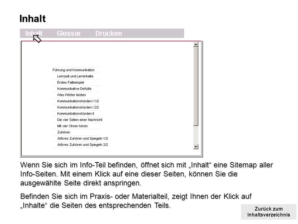 Zurück zum Inhaltsverzeichnis Zurück zum InhaltsverzeichnisInhalt Wenn Sie sich im Info-Teil befinden, öffnet sich mit Inhalt eine Sitemap aller Info-Seiten.