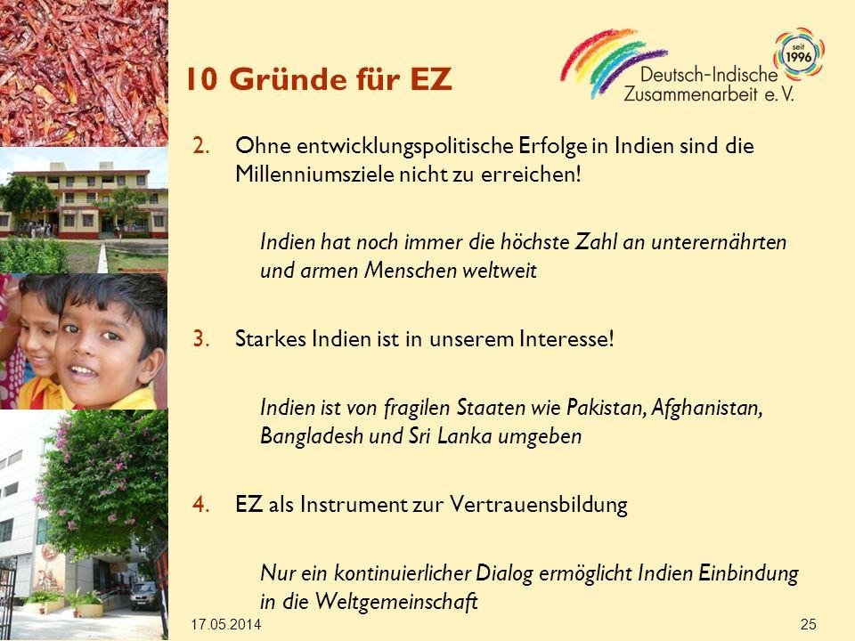 17.05.2014 25 10 Gründe für EZ 2.Ohne entwicklungspolitische Erfolge in Indien sind die Millenniumsziele nicht zu erreichen.