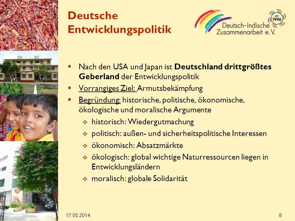 17.05.2014 19 Deutsch-indische EZ Gesundheit Bekämpfung von Krankheiten mit besonders negativen Auswirkungen auf die Produktivität (extrem) Armer und Benachteiligter (z.B.