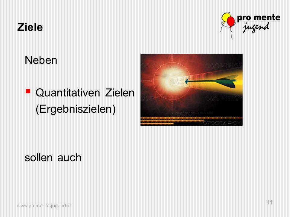 www.promente-jugend.at 11 Ziele Neben Quantitativen Zielen (Ergebniszielen) sollen auch