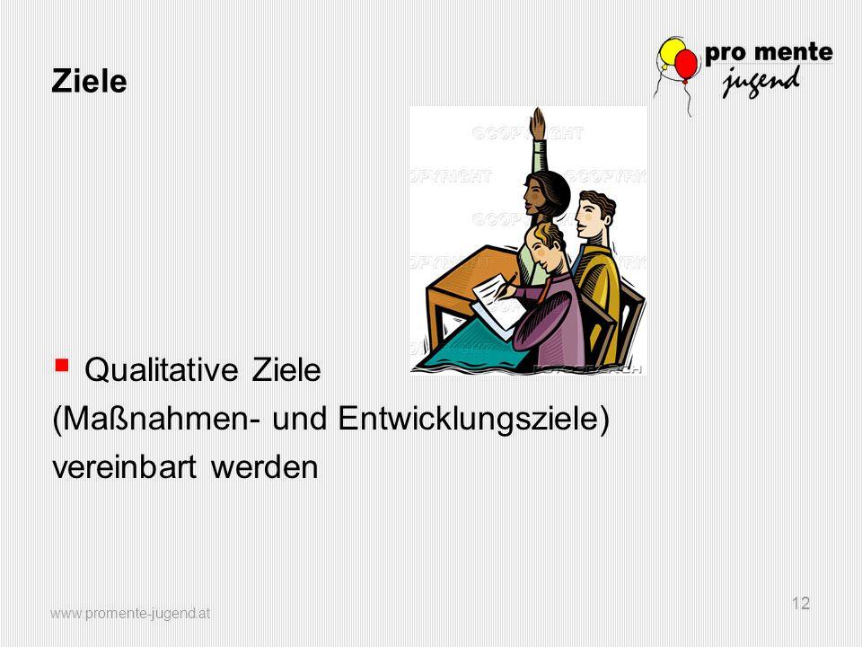 www.promente-jugend.at 12 Ziele Qualitative Ziele (Maßnahmen- und Entwicklungsziele) vereinbart werden
