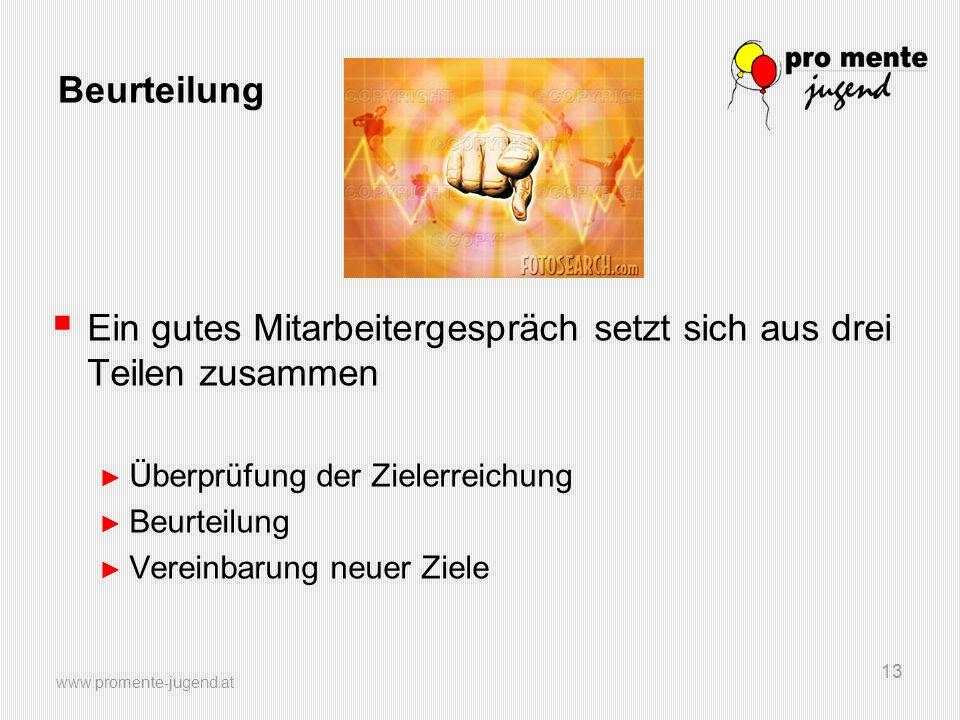 www.promente-jugend.at 13 Beurteilung Ein gutes Mitarbeitergespräch setzt sich aus drei Teilen zusammen Überprüfung der Zielerreichung Beurteilung Ver