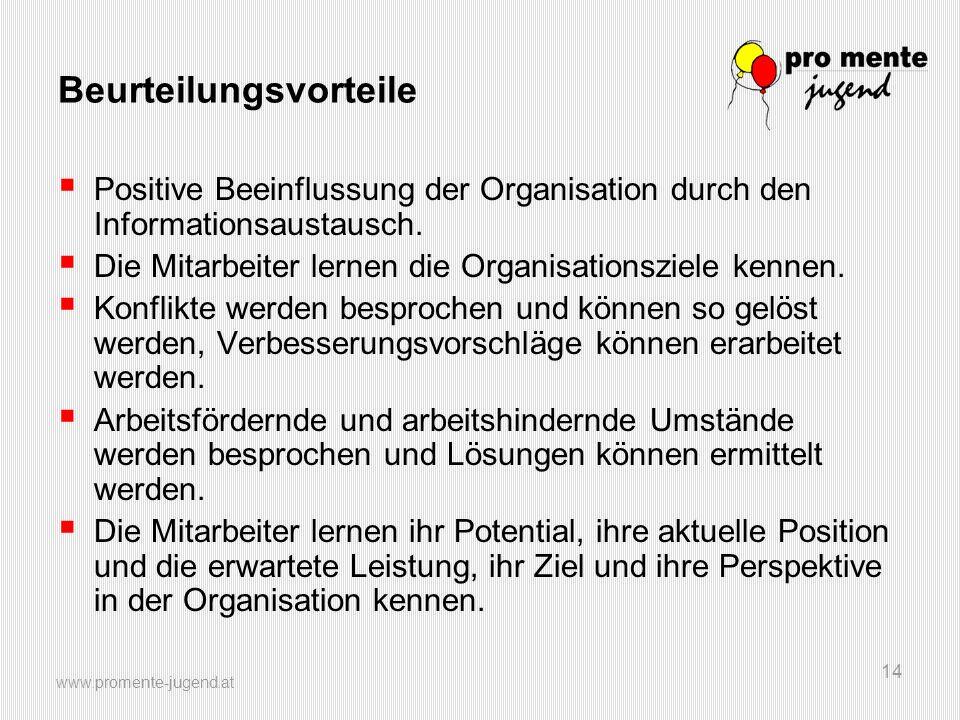 www.promente-jugend.at 14 Beurteilungsvorteile Positive Beeinflussung der Organisation durch den Informationsaustausch. Die Mitarbeiter lernen die Org