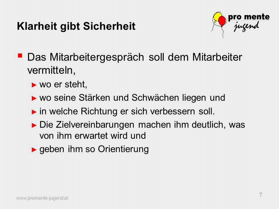www.promente-jugend.at 28 Leistungsbeurteilung und Entwicklungsplan