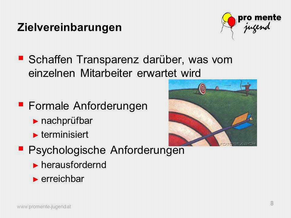 www.promente-jugend.at 8 Zielvereinbarungen Schaffen Transparenz darüber, was vom einzelnen Mitarbeiter erwartet wird Formale Anforderungen nachprüfba