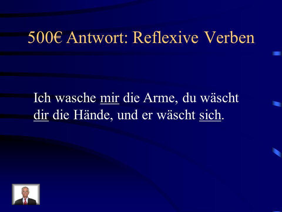 500 Frage: Reflexive Verben Ich wasche _____ die Arme, du wäscht ______ die Hände, und er wäscht ______.