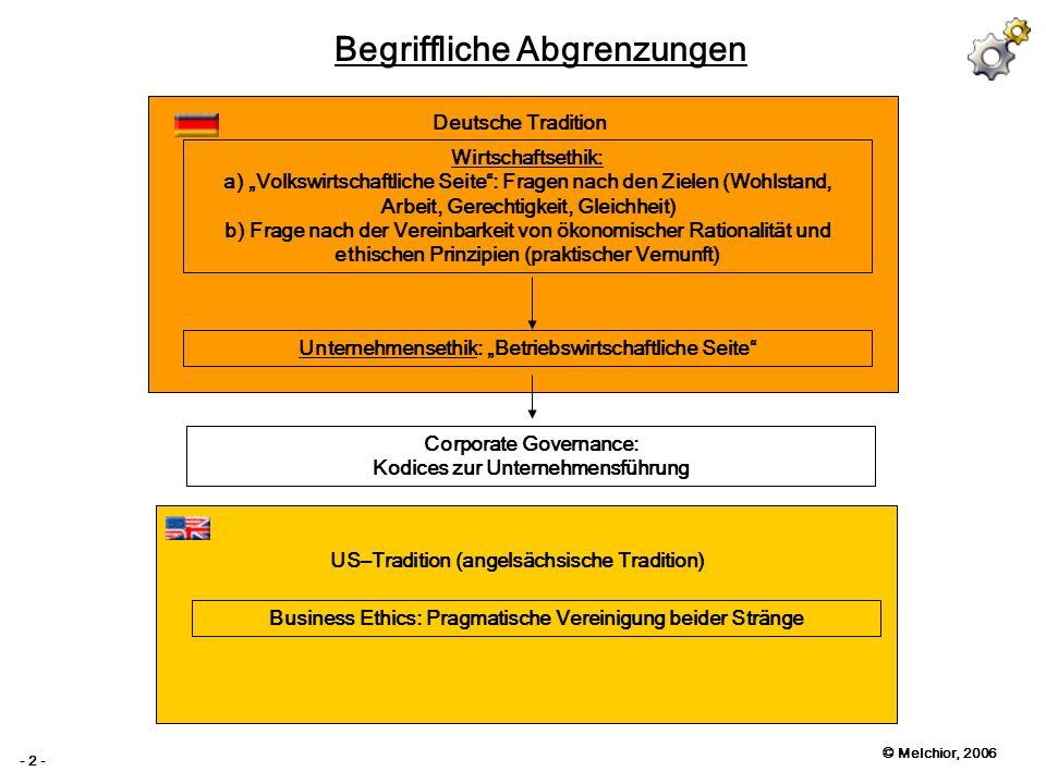 © Melchior, 2006 - 2 - Begriffliche Abgrenzungen Deutsche Tradition US–Tradition (angelsächsische Tradition) Wirtschaftsethik: a) Volkswirtschaftliche