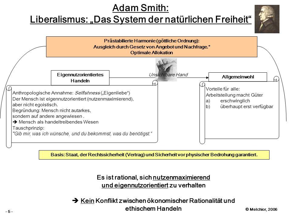 © Melchior, 2006 - 5 - Adam Smith: Liberalismus: Das System der natürlichen Freiheit Eigennutzorientiertes Handeln Allgemeinwohl Unsichtbare Hand Präs