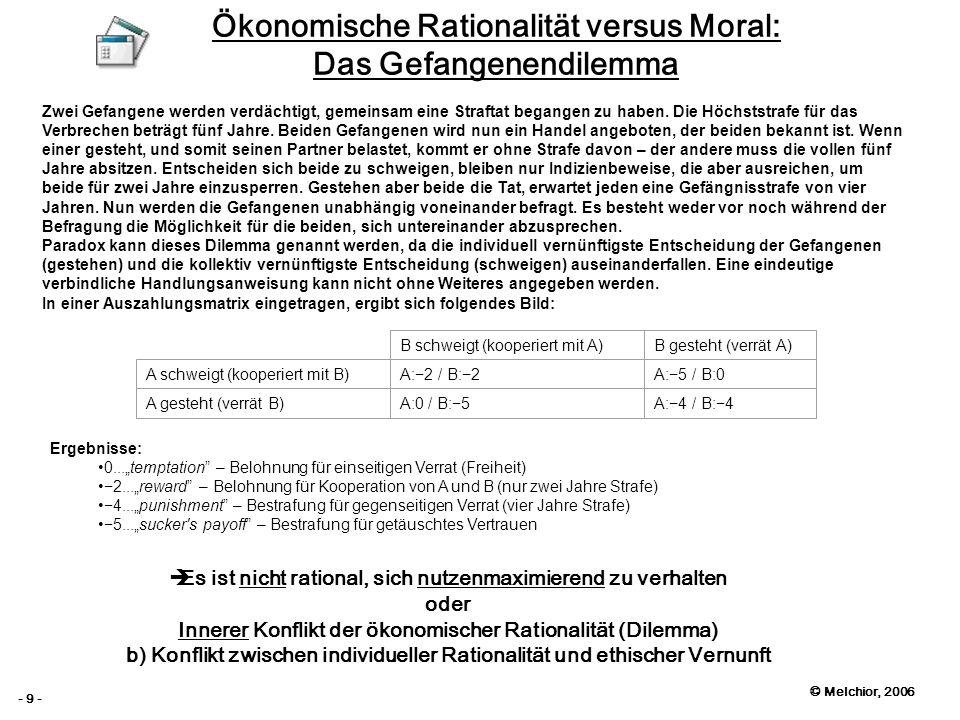 © Melchior, 2006 - 9 - Ökonomische Rationalität versus Moral: Das Gefangenendilemma Zwei Gefangene werden verdächtigt, gemeinsam eine Straftat begange