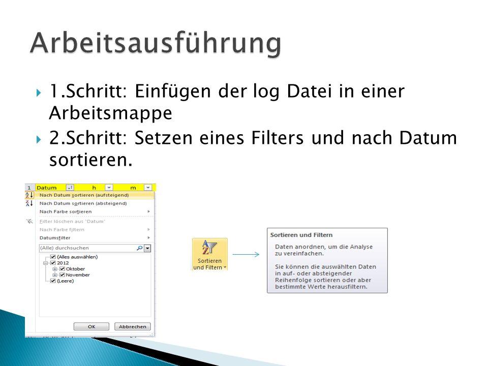 1.Schritt: Einfügen der log Datei in einer Arbeitsmappe 2.Schritt: Setzen eines Filters und nach Datum sortieren.