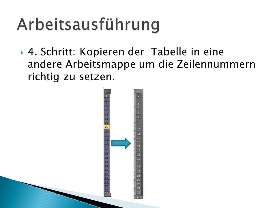 4. Schritt: Kopieren der Tabelle in eine andere Arbeitsmappe um die Zeilennummern richtig zu setzen.